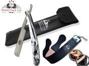 BeautyTrack - Straight Wet Shaving Cut throat Razor - Beard`s Trimmer - Shavette Barber Razors New Improved Quality - Shaving Razor For Men - Traditional Manual Razor Set - 20cm Leather Strop and Case