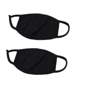 Furnido Black 2 Pcs Mouth Mask Cotton Blend Dustproof Face Nose Mask Respirator Sports Winter Earloop Mouth Cover