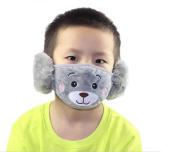 1PCS Kids Earloop Face Mouth Mask-Windproof Dustproof Cartoon Fleece Winter Warm Face Mask with Earmuffs