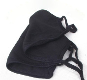 Westeng Anti-Dust Mouth Mask Cotton Earloop Face Mouth Mask Windproof Breathable Mask Reusable Black, 2pcs