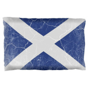 Scottish Flag Distressed Grunge Scotland Pillow Case Multi Standard One Size