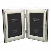 Double Silver Plated Wave Design 10cm X 15cm Photo Frame Gift Boxed