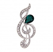 Cosanter Exquisite Women Brooches & Pins Artificial Crystal Musical Note Shaped Brooch
