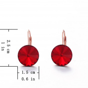 Yozone Women Simple Ruby Earring Small Drop Dangle with Crystals Hoop