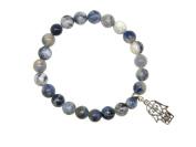 Z005SL - Carded Sodalite Gemstone Bead Bracelet with Hamsa Hand Charm by Jeannieparnell