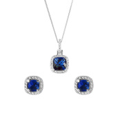Sterling silver blue and white cubic zirconia cushion cut necklace and earring set / Gift Box