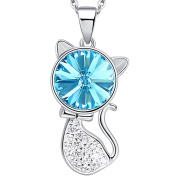 Hanana 925 Sterling Silver Guardian Cat Necklace Pendant for Women/Girls, with blue Crystal from 45cm , Ideal Gift for Love Birthday Anniversary Valentine's Day
