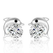 Cosanter Lovely Dolphin-Shaped Zircon Women's Stud Earrings 9mm