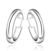 Bluelans Fashion Silver Plated Women Large Circle Hoop Dangle Earrings Wedding Jewellery