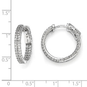 Sterling Silver Pave .20cm Diameter CZ In and Out Hoop Earrings QMP320