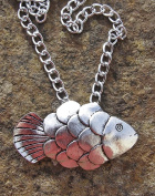 Fish Pendant on a Curb Chain 46cm Necklace Handmade Arts and Craft