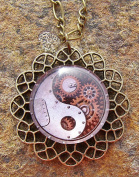Steampunk Yin Yang Glass Pendant on 46cm Figaro Chain Necklace Handmade Arts and Craft