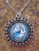 Unicorn, Glass Bead pendant on 46cm Chain Necklace Handmade Arts and Craft