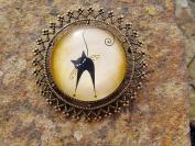 Styalised Cat Brooch Lapel Pin Badge Handmade Arts and Craft,