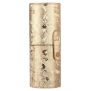 Demiawaking Portable Travel Makeup Brush Cup Holder PU Leather Make Up Cosmetic Brushes Case Holder Pot Organiser Bag