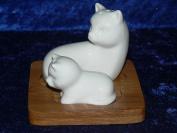 White cat and kitten salt and pepper set ceramic on bamboo tray