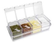 GRJH® Kitchen Supplies Spice Jar Plastic Salt Cans Seasoning Box Combination Transparent Acrylic Storage Healthy Beautiful