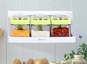 GRJH® Kitchen Supplies Spice Jar Glass Seasoning Box Seasoning Cans Combination Salt Pepper Condiment Bottles Storage Healthy Beautiful