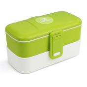 Bento Lunch Box. Single or Double Layer each with divider. Stainless Steel Fork & Spoon beneath clip-on cover. Leakproof. Dishwasher/Microwave/Freezer Safe. Premium Quality