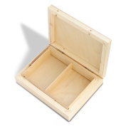 Wooden Business Card Holder Box Natural Pine Wood, Natural ECO - 2 Spaces