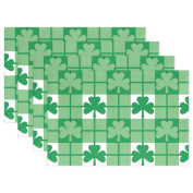 Naanle St. Patrick's Day Placemats Set of 4, Shamrocks Green Leaves Heat-resistant Washable Table Place Mats for Kitchen Dining Table Home Decoration