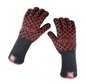 SYJINLONG BBQ Cooking Gloves, Cut Resistant, Heat Resistant Gloves, Protection up to 662°F, Oven Mitts for Grilling,Cooking,Baking-Black(1 Pair)