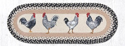Earth Rugs Jute Table Runners Earth Rugs Op-430 Roosters Oval Patch Runner 33cm X 90cm 36 X 0.4cm X 33cm Multicoloured