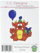 C.C. Designs Rubber Doodle Dragon Cling Stamp 8.3cm x 7cm Birthday Monster