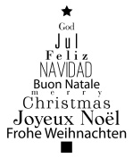 Artemio Type G Christmas Tree with Multiligual Text Wooden Stamp