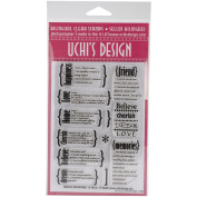 UCHIS DESIGN Rubber Bilingual Clear Stamp Set 10cm x 15cm Sheet-English Definitions