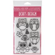 UCHIS DESIGN Rubber Bilingual Clear Stamp Set 10cm x 15cm Sheet-Owls