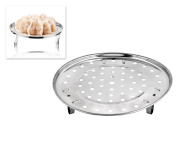 DSstyles Steam Tray Round 22cm Steamer Rack with Removable Legs - Stainless Steel Chinese Steaming Rack for Instant Pot Pressure Cooker - Instant Pot Accessories Multi-functional Steamer Basket