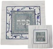 Ben and Jonah Elegant Matzah Cover Set-Cover and Afikomen Bag-Grey/Silver/Blue