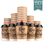 Disposable Coffee Cups Hot Insulated Paper Cups - With Lid and Stir Straw 350ml(50 Count) Double layer Insulated Eco Friendly,Sturdy Construction,Disposable Craft Large Reusable