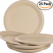 Biodegradable, Plant-Based, Tree Free, Disposable 23cm Plates 25 Pack. Sturdy, Gluten Free Wheatstraw Fibre is Certified Compostable, Eco-Friendly, Microwavable and Safe for Hot and Cold Foods