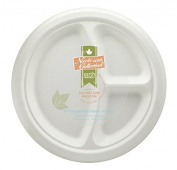 Eco-Friendly 100% Compostable Sugarcane / Bagasse Heavy Duty Plates, FDA Approved, 25cm , 3-Compartment Round Plate, 50 Count