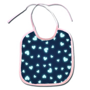 Glowing Blue Teal Hearts Polyester 9x8 Baby Bib