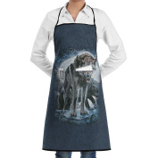 Kitchen Apron Bad Moon Wolves Women Bib Canvas With Pockets Breathable Machine Washable For Kitchen