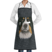 Kitchen Apron Bernese Mountain Dog Face Women Bib Canvas With Pockets Breathable Machine Washable For Kitchen