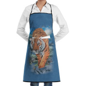 Kitchen Apron 3D Tiger Women Bib Canvas With Pockets Breathable Machine Washable For Kitchen