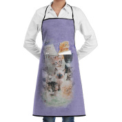Kitchen Chef Works Apron 10 Kittens Professional 100% Polyester With Pockets Durable Lightweight For Man/women