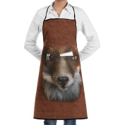 Kitchen Apron Big Face Fox Women Bib Canvas With Pockets Breathable Machine Washable For Kitchen