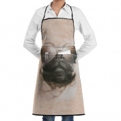 Kitchen Apron Aviator Pug Women Bib Canvas With Pockets Breathable Machine Washable For Kitchen