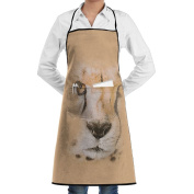 Kitchen Apron Big Face Cheetah Women Bib Canvas With Pockets Breathable Machine Washable For Kitchen