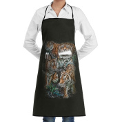 Kitchen Apron Bengal Tiger Collage Women Bib Canvas With Pockets Breathable Machine Washable For Kitchen
