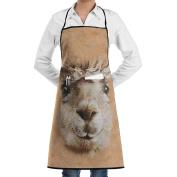 Kitchen Apron Big Face Alpaca Women Bib Canvas With Pockets Breathable Machine Washable For Kitchen