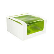 PacknWood 209BCKF4 Cupcake Box 17cm x 17cm x 8.4cm High with Window, Holds 4 Cupcakes - Pack of 50