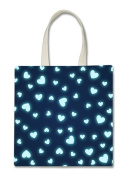 Glowing Blue Teal Hearts Halloween Trick Or Treat Polyester White Tote Bag 15x16x 3.5