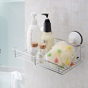 Stainless Steel Shower Basket Super Suction Rack Towel Dual Tier Wall-mounted Shelf Bathroom Accessories Shampoo Holder Fashion
