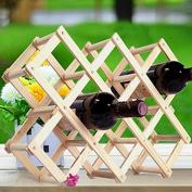 10 Bottles Wood Wine Rack Alcohol Neer Care Drink Bottle Holders Solid Wood Shelf